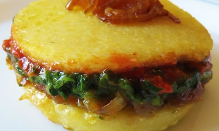 Croque polenta with tender vegetables