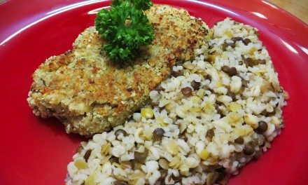 Bulgur, wheat and lentils steaks