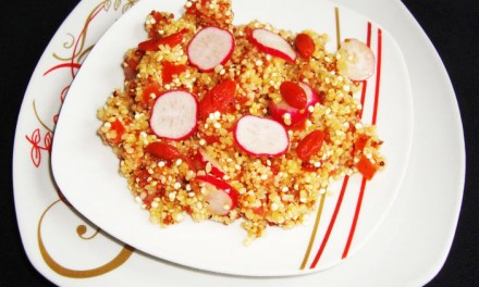 Quinoa and bulgur tabbouleh with radishes and Goji berries