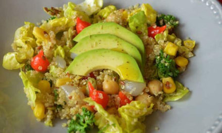 Salad of quinoa, avocado, chickpeas, pepper drops