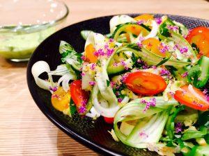 Salade courgettes asperges vinaigrette avocat 3