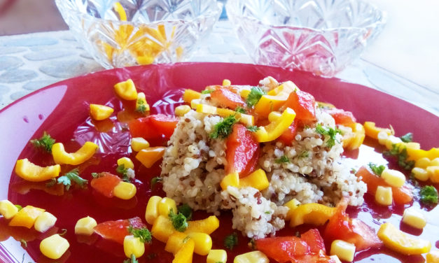 Quinoa and bulgur tabbouleh with sweet peppers