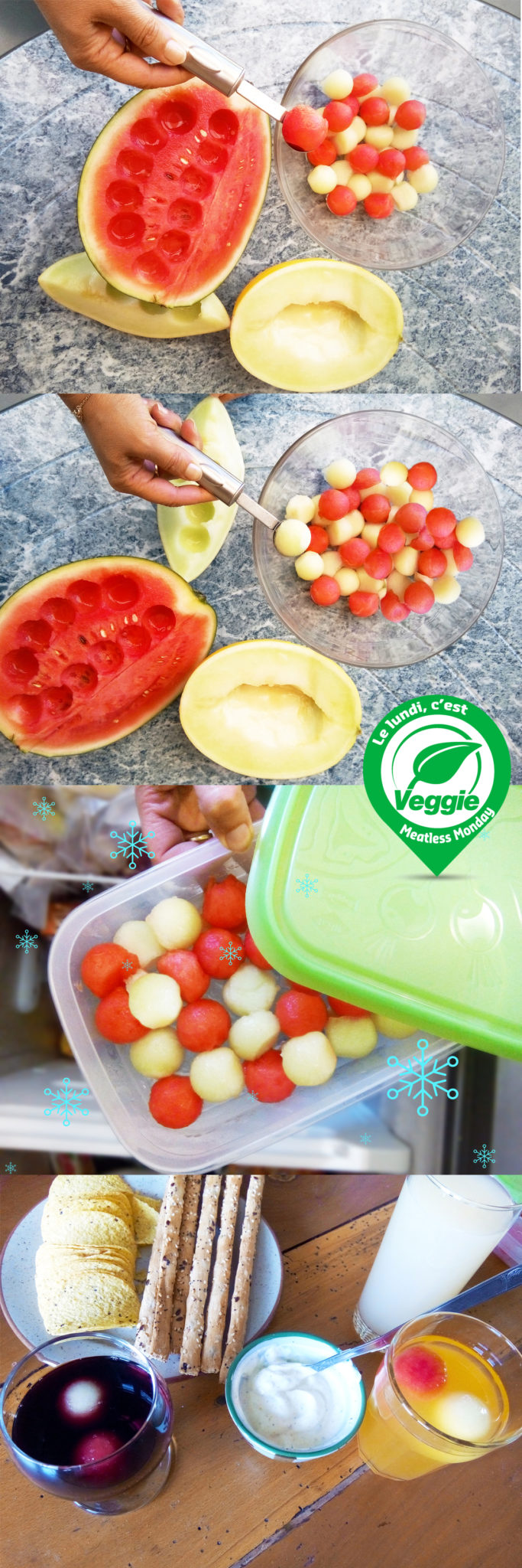 Glaçons fruits d'été : melon, pastèque pour cocktail