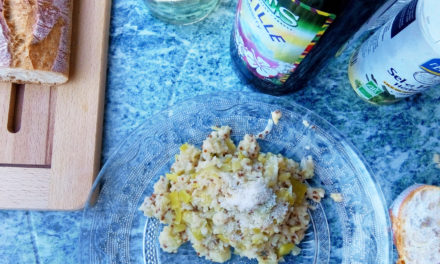 Toasted pearl couscous and quinoa rositto with tender leeks