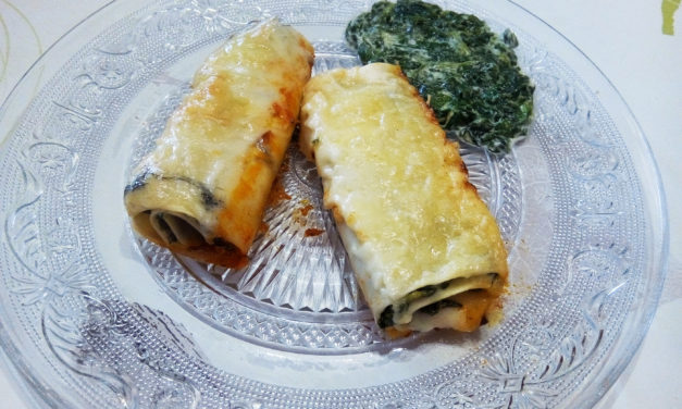 Lasagna rolls with spinach and fresh cheese