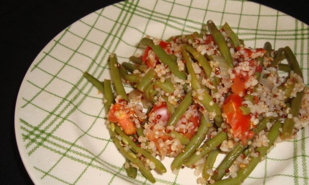 Poêlée of french beans, quinoa, bulgur and tomatoes