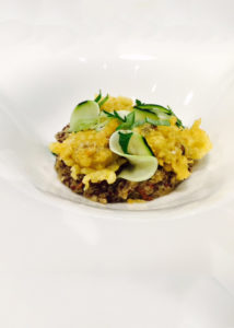 risotto-quinoa-mushrooms-marinated-zucchini-lemon-curry-tempura