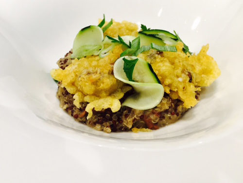 Risotto of quinoa and mushrooms, marinated zucchini, lemon and curry shiitake tempura