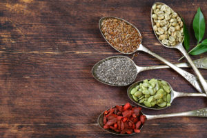 seeds of chia and berries Goji