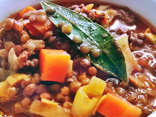 Organic Green lentils stew, Bolognese sauce