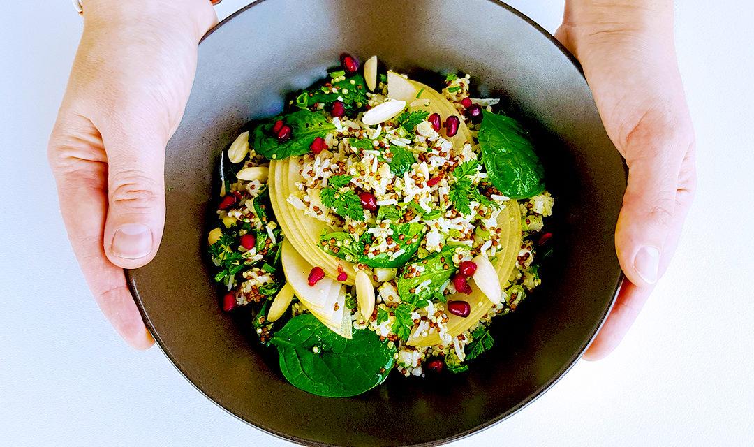 Salade japonaise au Riz des 2 mondes, nashi et amandes